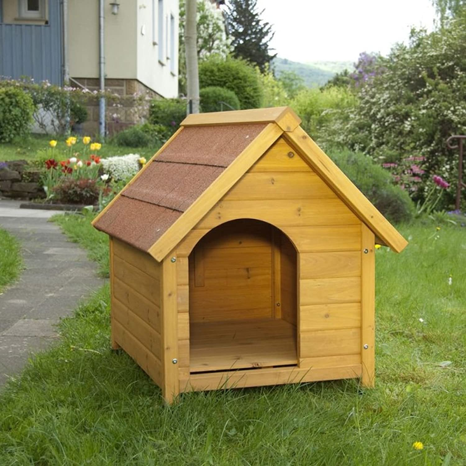 Attraente Wooden Dog Kenndel w / Side Entrsion Specially Coated Roof &Sealed Wood with a Wide Overhang Offering Protection from Adverse Weather Relations by eCommerce Excellence (XL)