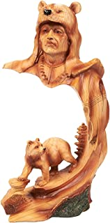 Native American Indian–Figura de guerrero indio nativo Decor, cara de polirresina y oso escultura de la India para la decoración de interiores, color marrón–4,5x 9x 3inches
