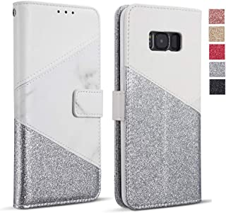 ZCDAYE Bling Glitter [Magnetic Closure] PU Leather [Ceramic Pattern] Flip Wallet Stand Folio Inner Soft TPU Stand Case Cover for Samsung Galaxy S6 Edge - White