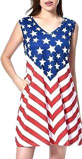 فستان لعيد الرابع من يوليو من إبريفير للنساء بدون أكمام فضفاض كاجوال صيفي بدون أكمام مع جيوب