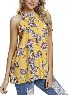 Eternatastic Women's Sleeveless Halter Floral Print Chiffon Tank Tops Blouse with Back Keyhole