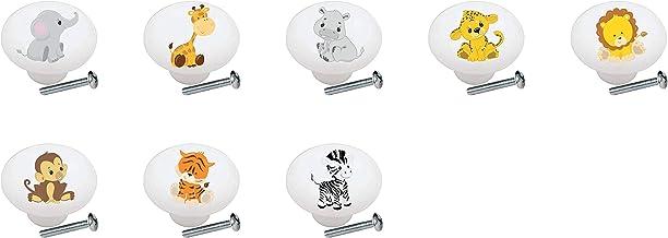 SET OF 8 KNOBS - Baby Safari Animals Kids Children's - DECORATIVE Glossy CERAMIC Cupboard Cabinet PULLS Dresser Drawer KNOBS