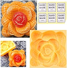 CHAWOORIM Soap Making Tray Molds - 3D Homemade Craft Soap Making Tray Square Shape Handmade Silicone Soap Making Rose Flower Style Molds