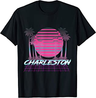 Charleston SC 80s Retro Palm Tree Vintage Sunset Palmetto T-Shirt