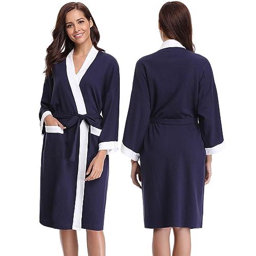 Abollria Unisex Waffle Cotton Dressing Gown Lightweight Bath Robe for All  Seasons Spa Hotel Pool Sleepwear 3f95360d4