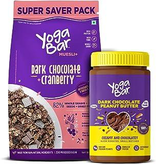 Yogabar Dark Chocolate Peanut Butter and Muesli Combo | Dark Chocolate Peanut Butter - (400gm ) | Dark Chocolate Muesli -...
