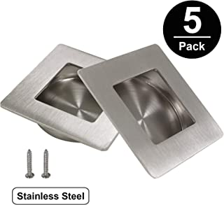 Gobrico 5Pack Brushed Nickel Concealed Recessed Cabinet Door Handle Stainless Steel Furniture Drawer Dresser Square Flush Pull 70mm 2-3/4in 304# Stainless Steel