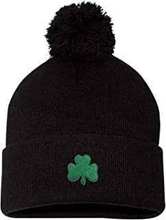 e8eadfee Go All Out Adult Shamrock St. Patrick's Day Embroidered Knit Beanie Pom Cap