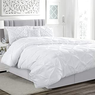 Pinch Pleat Pintuck Bed Duvet Cover Set with Pillow Cases...