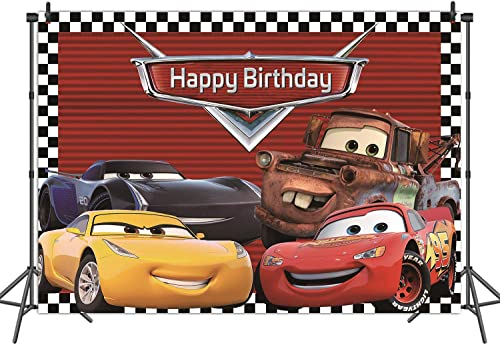 RUINI Car Racing Themed Backdrop Cartoon Cars Mobilization Birthday Party Decor Banner 8x6FT