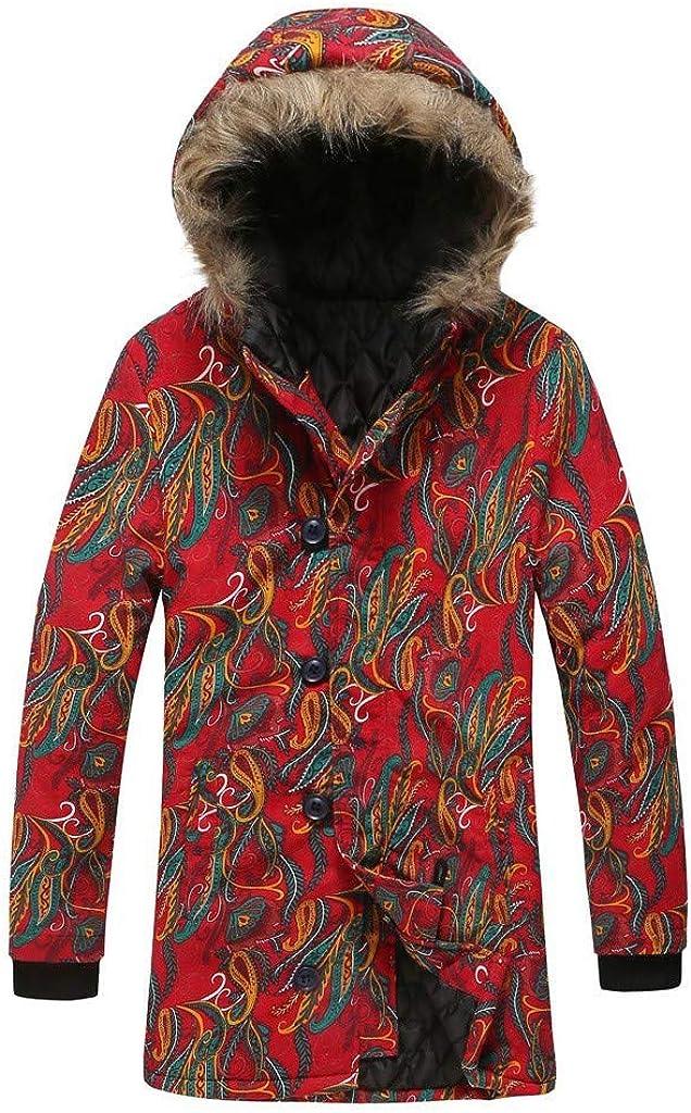 Men's Winter Warm Coat with Fur Hood Long Sleeve Floral Print Vintage Plus Size Zipper Jacket