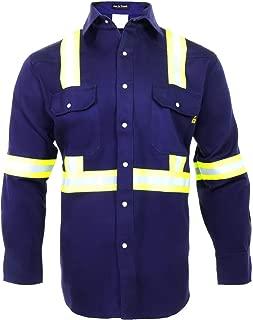 Flame Resistant High Visibility Hi Vis Shirt - 100% C - 7 oz (Medium, Navy Blue)
