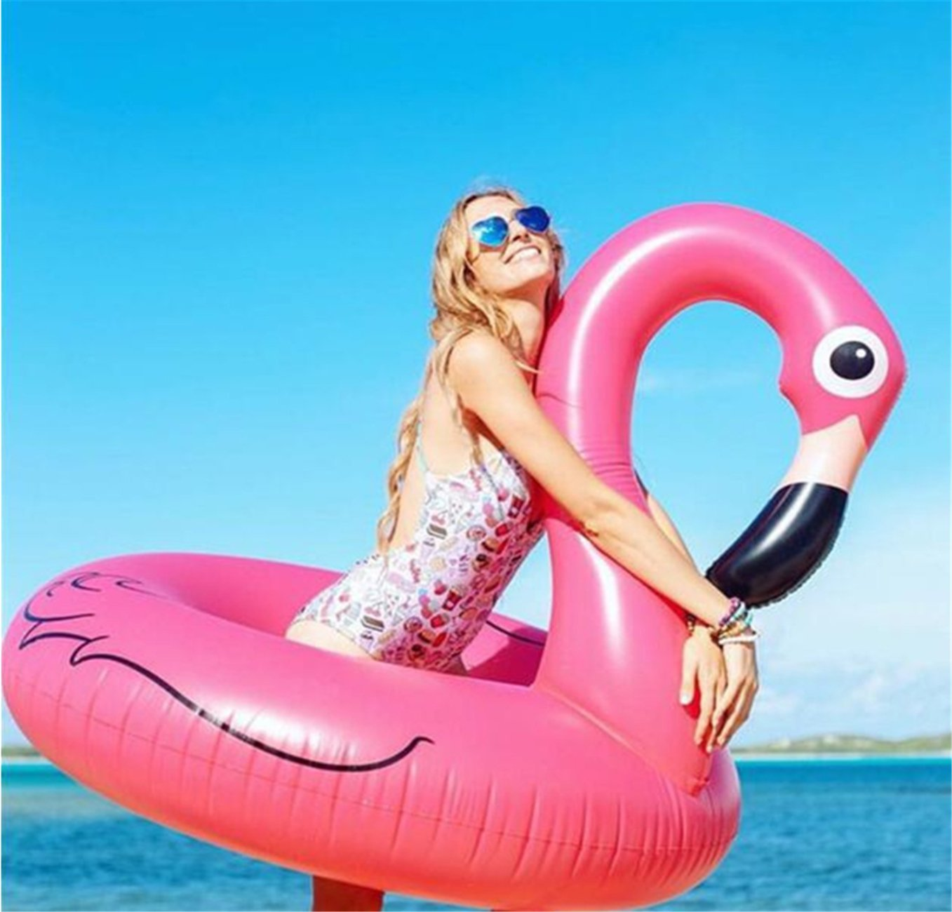Flotador hinchable en forma de animales, 120 cm, flamenco rosa ...
