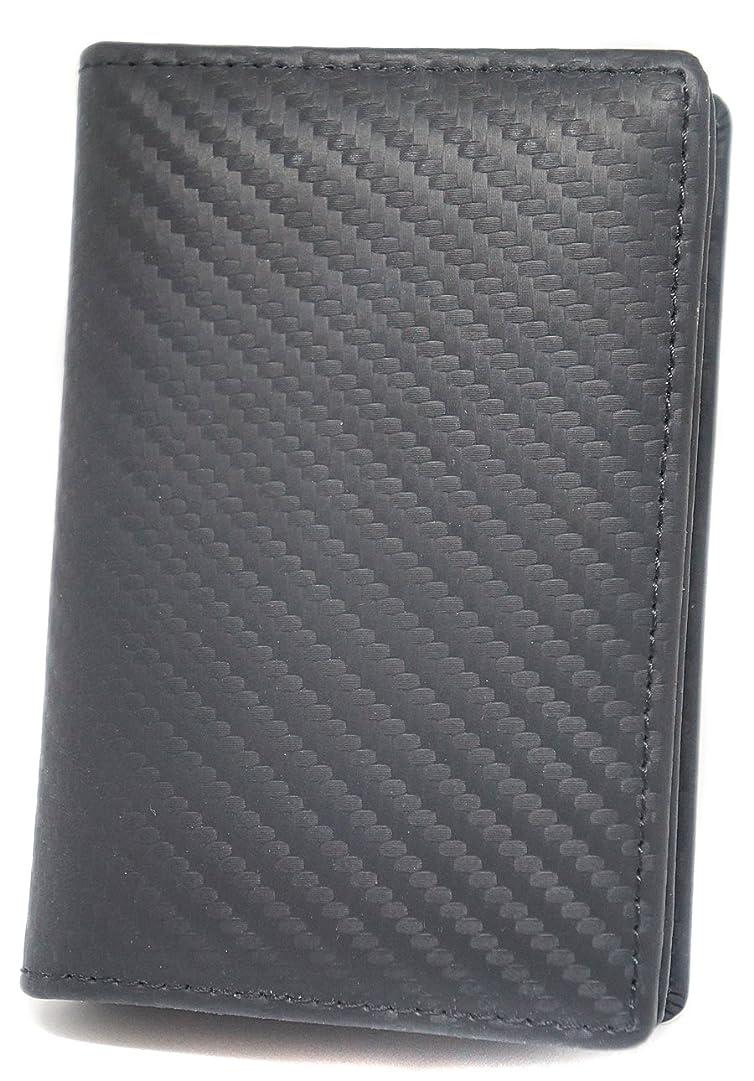 稼ぐ直面する大邸宅カーボンレザー 本革 カードケース 大容量 名刺入れ ブラック ME0150_c1