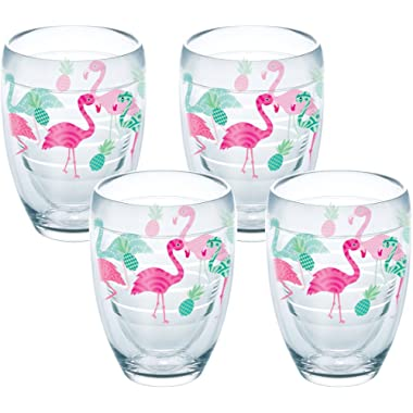 Tervis Flamingo Pattern Tumbler with Wrap 4 Pack 9oz Stemless Wine Glass, Clear