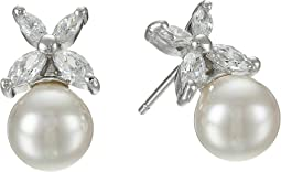 8mm Pearl w/ CZ Flower Earrings