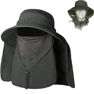 Sombrero para el Sol Gorro Pescador 4 en 1 Anti-UV UPF50+ Gorra Pesca Solar ala Ancha Transpirable Multiusos con Velo y Mosquitera Protección Cuello Al Aire Libre