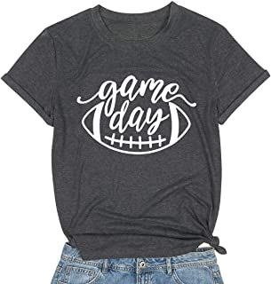 MAXIMGR Game Day Shirt Womens Football Season T-Shirt Short Sleeve Funny Letters Print Casual Graphic Tees Tops