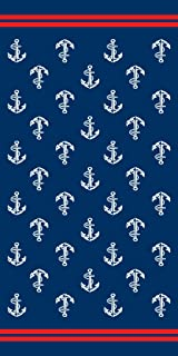 Bahia Collection by Dohler Anchors Brazilian Velour Beach Towel 30x60 inches