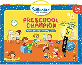 Skillmatics Educational Game: Preschool Champion (3-6 Years) | Creative Fun Activities and Games for Kids | Erasable and Reusable Mats