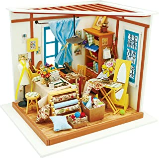 Rolife Wooden Miniature Dollhouse Kit with Light-DIY Art House Crafts-3D Wooden Model Building Sets-Perfect Birthday for Girls Women Friends Mom Wife (01 Sewing Room)