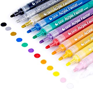 Acrylic Paint Markers Set - Permanent Paint Pens for Rocks Painting, Glass, Plastic, Ceramic, Wood, Cloth, Rubber, Canvas, DIY Craft Making Supplies. Set of 12 Colors Markers Water Based Paint Pen