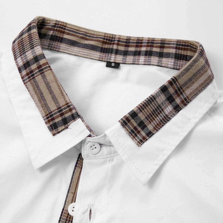 WUAI-Men Casual Short Sleeve Button Down Shirts Regular-Fit Turn Down Collar Plaid Summer Beach Cotton Shirts Tops