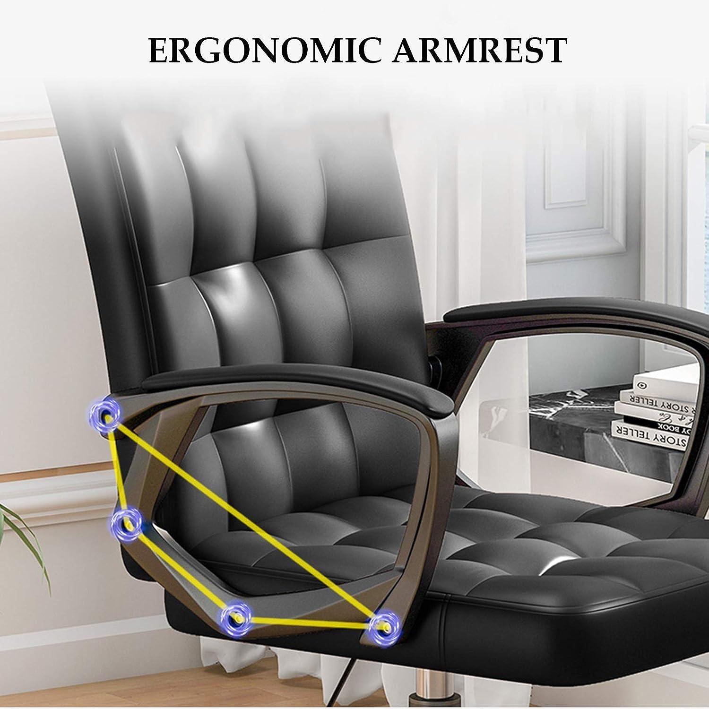 LIYIN Chaise de Bureau à Domicile Chaise d'ordinateur Ergonomique avec Support Lombaire Chaise de Travail pivotante à Dossier Haut réglable en Hauteur, Charge maximale 200 kg White