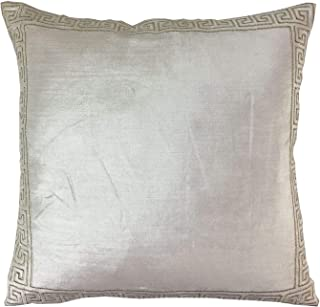 "2 X Embroidered Greek Key Meander Velvet Cream White Gold 20"" - 50cm Cushion Covers Pillow Case Shams"