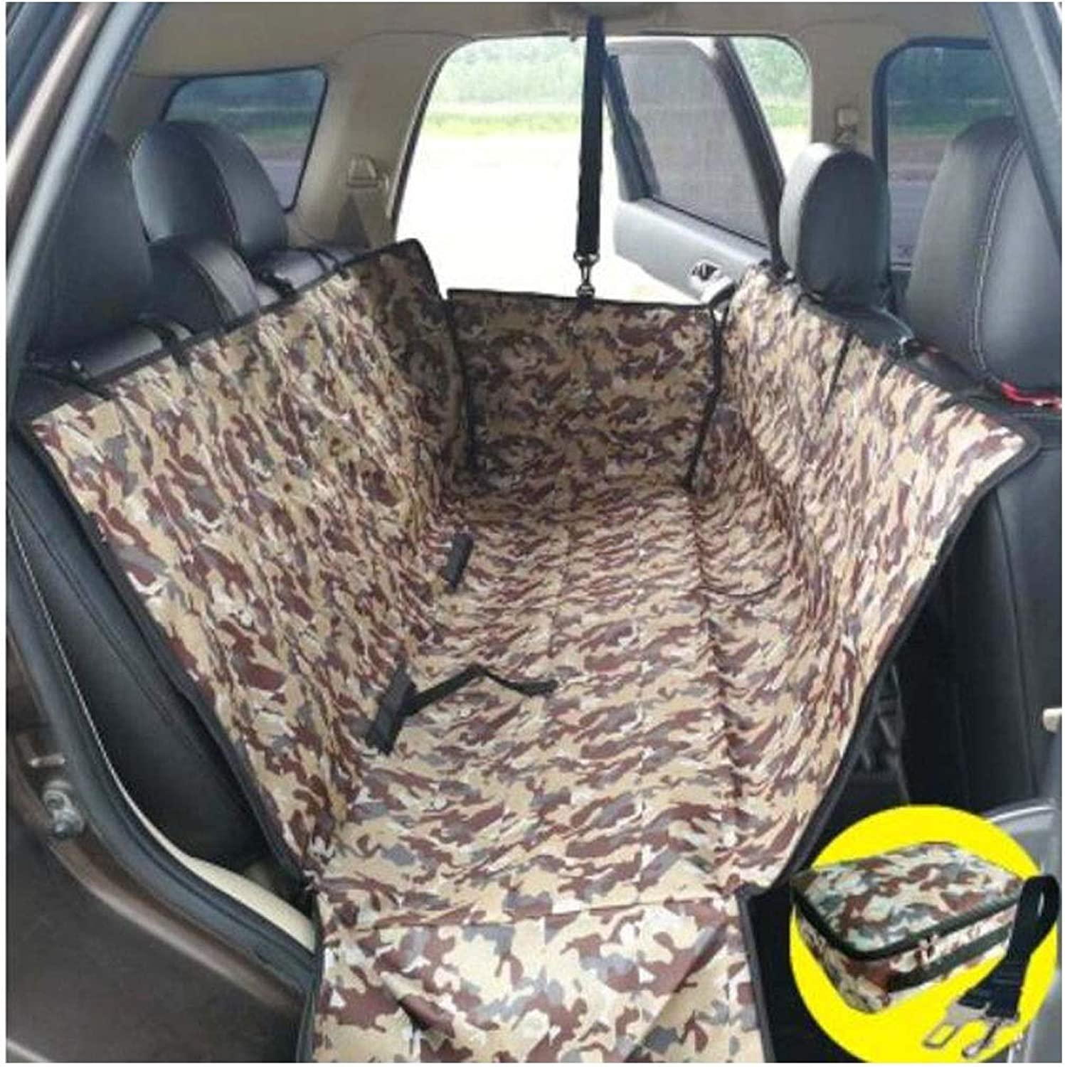 Dog Car Seat Cover, Dog Artifact Car Rear Seat Anti-Dirty Safety Seat Hammock Heavy Duty Non-Slip Waterproof and Durable, Distribution Storage Bag, Camouflage, Brown 130  50  45cm