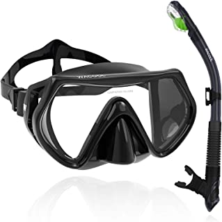 WACOOL Adults Teens Snorkeling Snorkel Diving Scuba Package Set with Anti-Fog Coated Glass Purge Valve and Anti-Splash Sil...