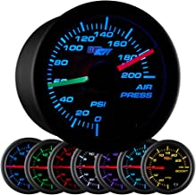 GlowShift Black 7 Color 200 PSI Air Pressure Gauge Kit - Includes 2 Electronic Sensors - Red & Green Analog Needles - Black Dial - Clear Lens - for Air Ride Suspension Systems - 2-1/16