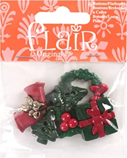 Blumenthal Lansing Buttons, Christmas Decoration Themed, Shapes Include Trees, Wreath, Holly, Bells and Others -Green, Red and Gold