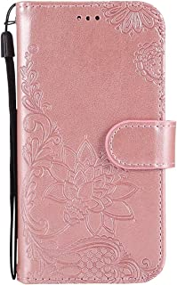 Herbests Compatible with Samsung Galaxy A40 Case 3D Embossed Flower Butterfly Wallet Flip Leather Folio Case Kickstand with Credit Card Wrist Strap Full Body Protective Phone Case,Purple