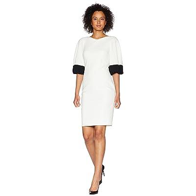 Calvin Klein Color Block Bubble Sleeve Dress CD8C26ML (White/Black) Women