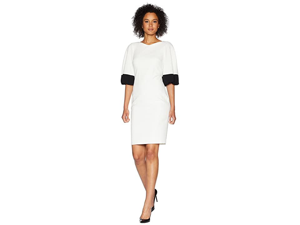 Calvin Klein Color Block Bubble Sleeve Dress CD8C26ML (White/Black) Women