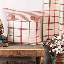 Piper Classics Red Double Windowpane Throw Pillow Cover, 20 x 20, Rustic Farmhouse, Country, Natural Cream & Cranberry Red Woven Décor Accent w/Ticking Stripes & Buttons