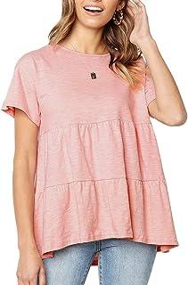 03516d75 Women's Summer Short Sleeve Loose T Shirt High Low Hem Babydoll Peplum Tops