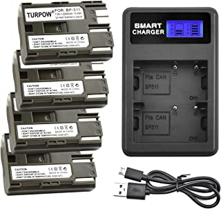 Turpow BP-511 BP-511A Replacement Battery Charger Set Compatible with Canon EOS 50D 40D 30D 20Da 20D 10D 5D 300D Digital Rebel D30 D60 PowerShot G6 G5 G3 G2 G1 Pro 1 Pro 90 Pro is - 4 Pack