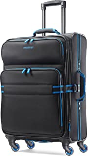 American Tourister Eclipse Softside Spinner Luggage (Black/Blue, 24 inch)