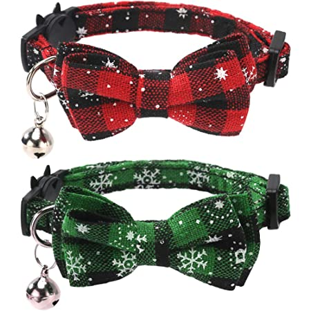 Detachable Cat Ties with Bow/&Bells Adjustable Collars for Cats Kitten/&Puppy Supplies Red,Green LUTER 2 Pack Christmas Plaid Cat Collars