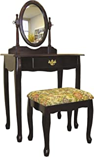 Frenchi Home Furnishing  Two Piece Vanity Set with Queen Anne Design Rich Cherry Finish