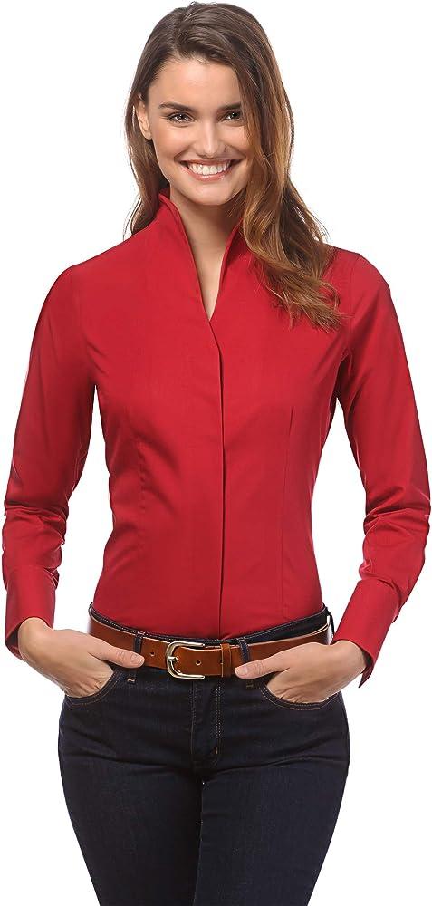 vincenzo boretti camicia-blusa elegante a maniche lunghe per donna 100% cotone 10010794_3264a