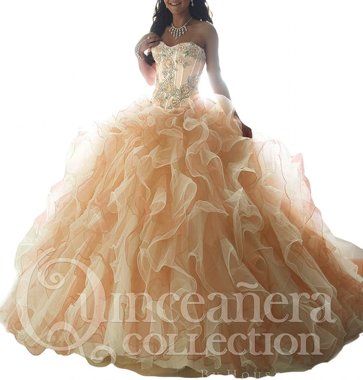 Beilite Women's Sweetheart Organza Quinceanera Gown Dresses