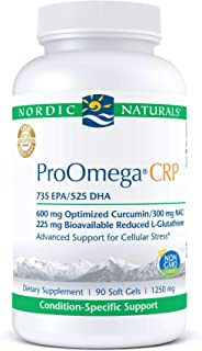 Nordic Naturals ProOmega CRP, Lemon - 90 Soft Gels - 1500 mg Omega-3 + Curcumin, NAC & L-Glutathione - Supports Long-Term ...