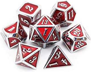 Haxtec 7PCS Metal Dice Set DND Dice for Dungeons and Dragons Games-Glossy Enamel Dice (Silver Red)