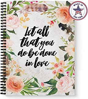 "Softcover Done in Love 8.5"" x 11"" Religious Spiral Notebook/Journal, 120 College Ruled Pages, Durable Gloss Laminated Cover, Black Wire-o Spiral. Made in The USA"