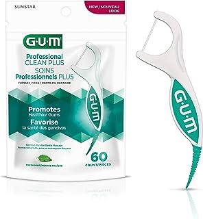 GUM Professional Clean Plus Dental String Floss Picks, Fresh Mint, Shred-Resistant Floss, 60 Count