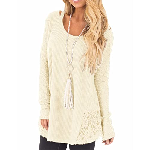 LANISEN Womens Long Sleeve Jumpers Ladies Lace Sweaters Tunic Tops Blouses  6-14 2a53dfafb