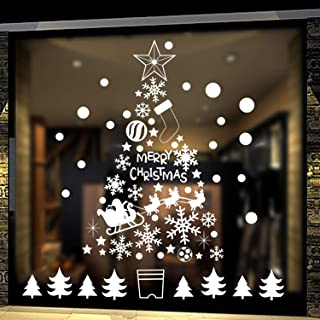 DIY Christmas Tree Window Stickers White Snowflakes Window Clings Wall Decal Removable Christmas Deers Window Decorations Snowflakes Santa Claus Glass Sticker for Christmas Window Display Decoration